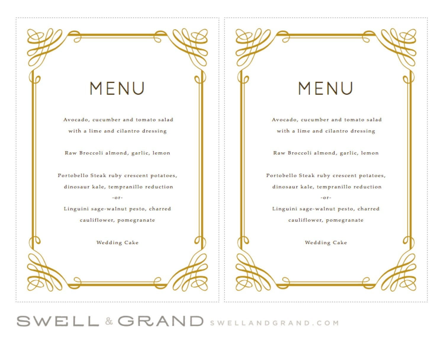 Printable Wedding Menu Template | INSTANT DOWNLOAD | Classic | 5x7 |  Editable Colors | Mac Or PC | Word U0026 Pages  Menu Template For Word