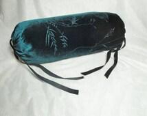 """Green velvet bolster pillow cover, cylinder neck roll, sparkle, 14x6"""""""