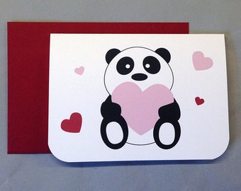 Panda with Hearts (I love you beary much!) Valentine's/Wedding/Anniversary/Engagement 4-Bar Folded Card