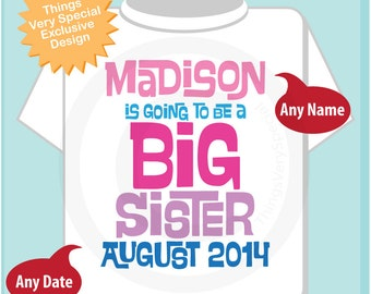 Girl's Personalized Pink and Purple Big Sister Shirt or Onesie, Infant, Toddler or Youth with Due Date and Name (04022014c)