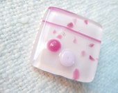 """Pink Button, Fused Glass Button, Art Button, Pretty In Pink, petal pink, rose, pink, sewing button, knitting supplies, square, 1"""""""