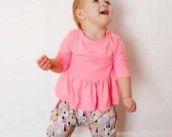 girl's PIPPA peplum knit top 3M to 10 PDF PATTERN