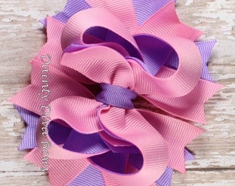 Pink and Lavender, Boutique Hair Bow, Pink Lavender Cotton Candy Duo Collection, Girls Hair Bow, Toddler Hair Bow, Pink Bow, Lavender Bow