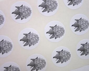 Rhododendron Flower Stickers One Inch Round Seals