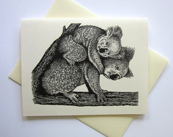 Koala Bear Cards Set of 10 in White or Light Ivory with Matching Envelopes