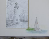 Lighthouse pencil drawing landscape art sailboat Marblehead Ohio black and white watercolor original shadow box story art