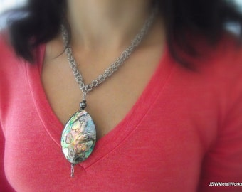 Stunning Byzantine Abalone Shell Necklace, Aluminum Necklace, Chainmail Necklace, Unique Jewelry, Nature, Renaissance Faire, Gift for Her