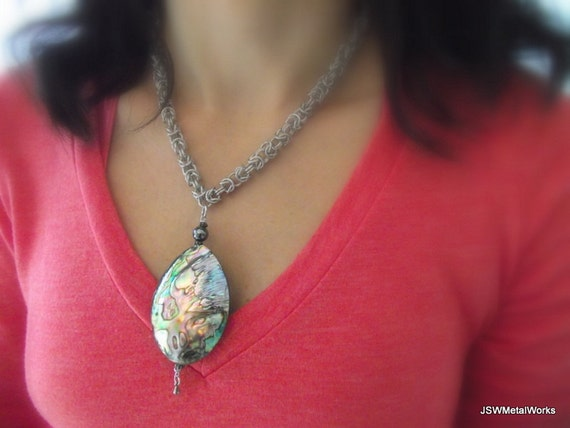 Stunning Byzantine Abalone Shell Necklace, Aluminum Necklace, Chainmail Necklace