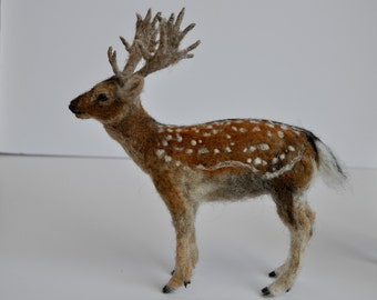 Needle Felted Animal.  English fallow deer .Made to order
