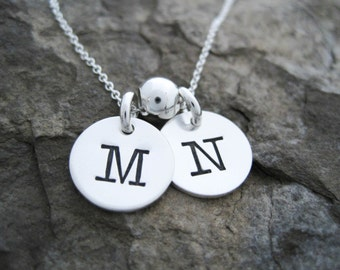 """Two Initial Necklace, Sterling Silver Initial Necklace - 2 Initial Necklace - Small Initial Necklace - Gift for Women - 1/2"""""""