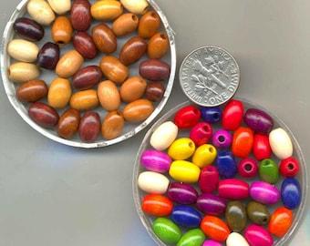 German Oval Wood Beads, Assorted Colors, 6x9, Vintage Schowanek, WB15*