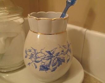 White Ironstone Toothbrush Holder Blue Floral Transferware, Victorian bathroom, Country Cottage, Bathroom decor, Farmhouse Bath, Blue White