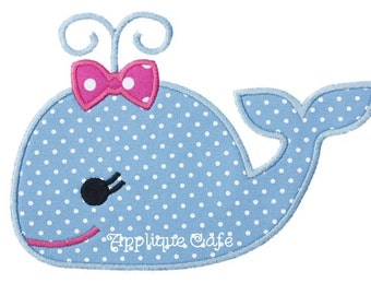 488 Girly Whale Machine Embroidery Applique Design