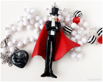 Tuxedo Mask Necklace, Beaded Rosary Chain, Official Sailor Moon Figure - Anime Jewelry, Bishonen