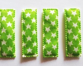 25 pcs - Cute Star Printed Rectangular Hair Clip COVERS -    size 55 mm Green