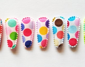 25 pcs -  Mix color Retro dot Cotton Hair Clip COVERS for toddler -  size 35 mm