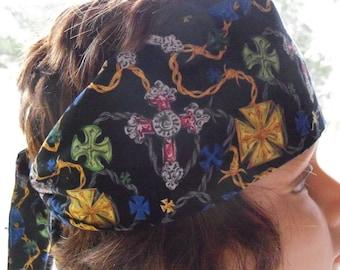 COOLTIE HEADBAND Neck Warmer Men Womens Cotton Biker Necktie Cool Crystals
