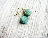 Small Leaf Earrings Green Leaves Tiny Dangles Verdigris Patina Nature Inspired Botanical Bridal Wedding Jewelry Minimalist Jewelry
