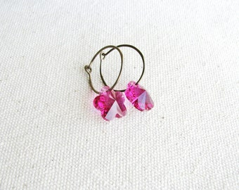Flower Earrings Dangles Hot Pink Crystals Hand-formed Hammered Sleeper Hoops Botanical Jewelry Minimalist Garden Gift