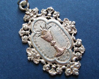 Antique Religious Medal French Silver Gold  Holy Communion Catholic Pendant   SS329