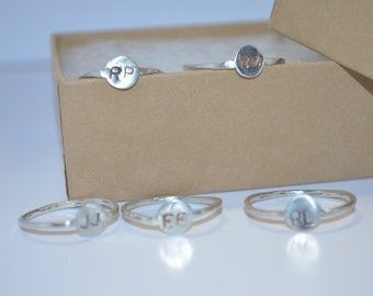 Sterling Silver Bridesmaid Rings Initial Stamped