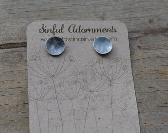 Small Textured Sterling Silver Patina Stud Earrings