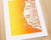 Linocut Print - San Francisco Map - Seattle Map - Airplane Decor - 8x10 Poster (Yellow and Orange)