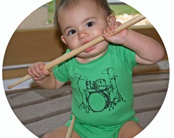 Drum Set rocker Baby Onesie / Hipster Baby Gift in Grass Green American Apparel Bodysuit New Baby