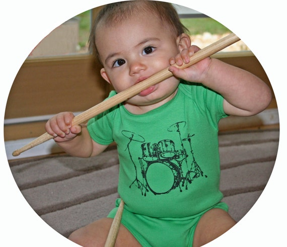 Drum Set rocker Baby Onesie / Hipster Baby Gift in Grass Green American Apparel Bodysuit New Baby