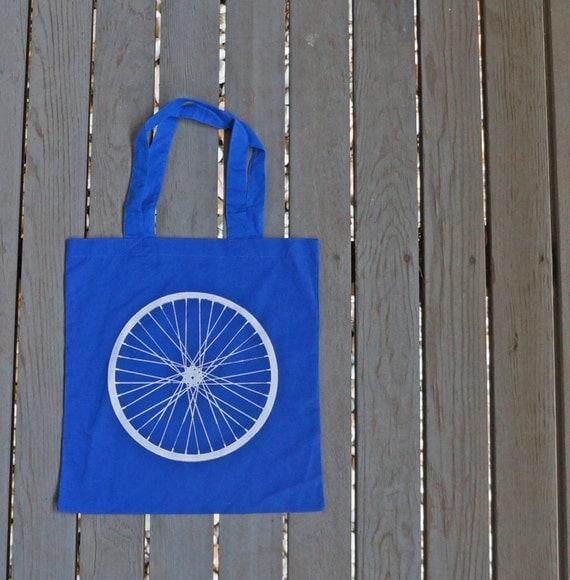 Bicycle Wheel Giant Print Hipster Bag in Royal Blue Tote Bag