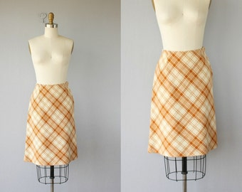 1960s Skirt | 60s Skirt | Plaid Skirt  Wool Skirt 60s | Mustard Plaid Skirt