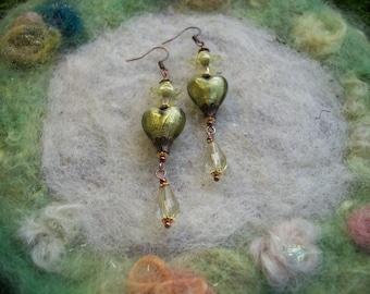 Earrings, Lamp Work Heart Beads, Light Olive Green