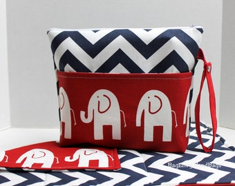 Large Zippered Diaper Clutch and Changing Mat Travel Set - Attach to Stroller - Navy Chevron Red Elephants