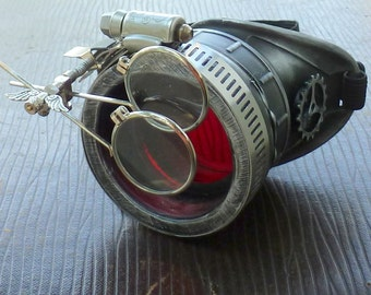 Steampunk goggles monocle eyepatch costume biker glasses red lens cyber gothic Silver