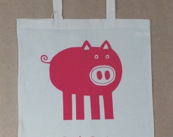 Screen printed pig tote bag.