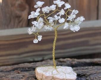 Clear Quartz Gemstone Tree Wire Wrapped in Brass