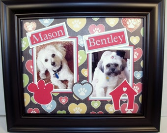 Personalized Two Dogs Picture Frame -  Hearts and Paws - 8x10 Deluxe Frame Included - Cat Version Available Too
