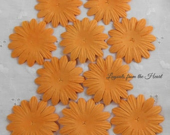 Eco Friendly Mulberry Paper Flowers Assortment No.103-Orange Daisy Paper Flower Embellishments Sampler Pack Tangerine Scrapbooking Cards