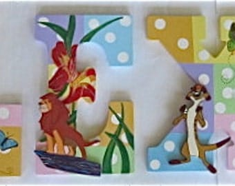 Personalized 9 inch wood hand-painted letters - Girly Lion King Theme