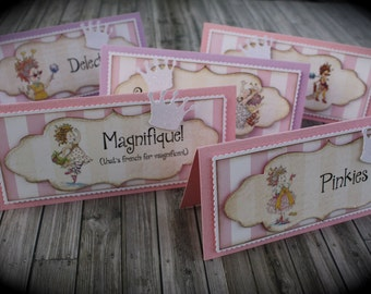 FANCY NANCY themed Food Tents...Menu cards...Place cards...Food signs...set of 5