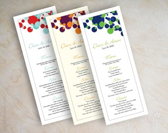 Wedding menu cards, printable wedding menus, diy wedding menus, wedding reception menus, tower menus, tea length menus, polka dots, Kendall