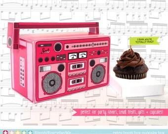 Boom Box - PINK, cupcake box, party favor box, 40th Birthday, 30th Birthday   Instant Download DIY Printable PDF Kit