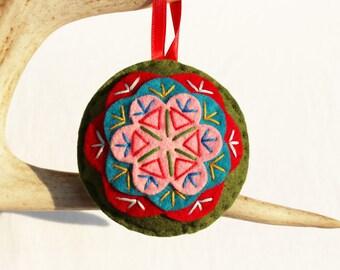 Hippie Christmas Ornament . Felt Christmas Ornament