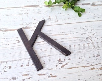 wall letter K - metal iron - You Choose Color