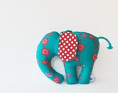 Coral and Turquoise Stuffed Elephant Teal Plush Animal