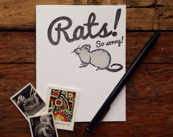 SASS-605 Rats!  So sorry letterpress card