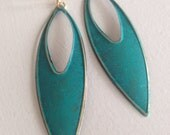 Teal Pointed Ovals (handmade statement earrings)