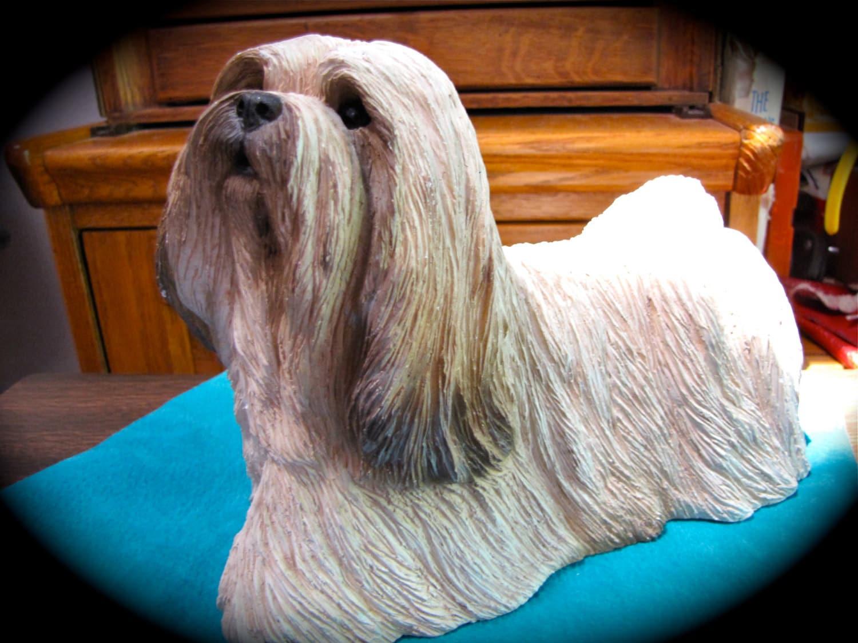 Vintage Large Dog Figurine Lhasa Apso Sandicast Figurine
