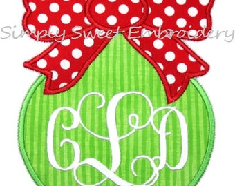 Christmas Ornament with Bow Applique Design