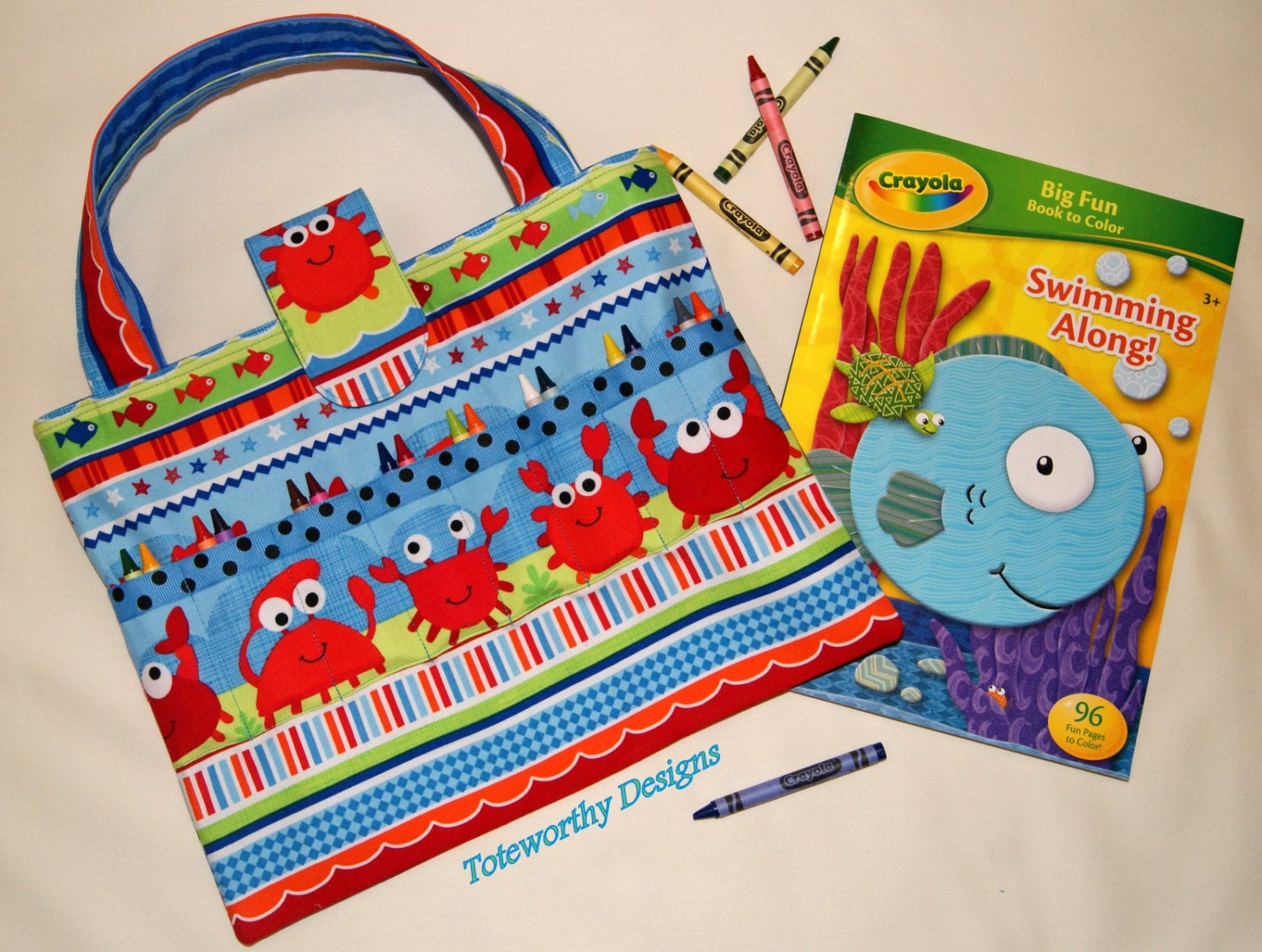 Kids arts and crafts storage beach vacation tote coloring for Arts and crafts tote bags